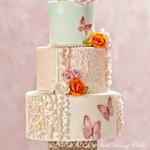 Butterfly Blush wedding design featured in Cake Central Magazine Vol. 4 Issue 2 , February 2013  Photo by TeaRose Photography Latrobe, PA